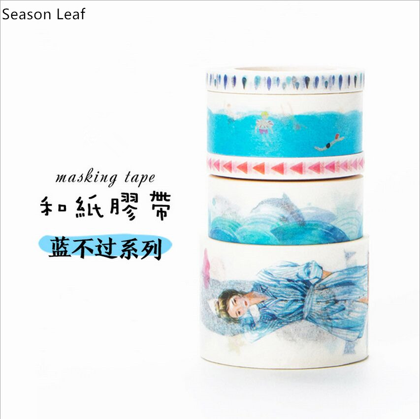 Ocean Blue Wave Color Swatch Watercolor Painting  Washi Tape DIY Diary Decorative Scrapbooking Masking Tape School Office Supply
