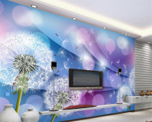 beibehang Custom warm and romantic children room background decoration 3D wallpaper purple dandelion behang woonkamer