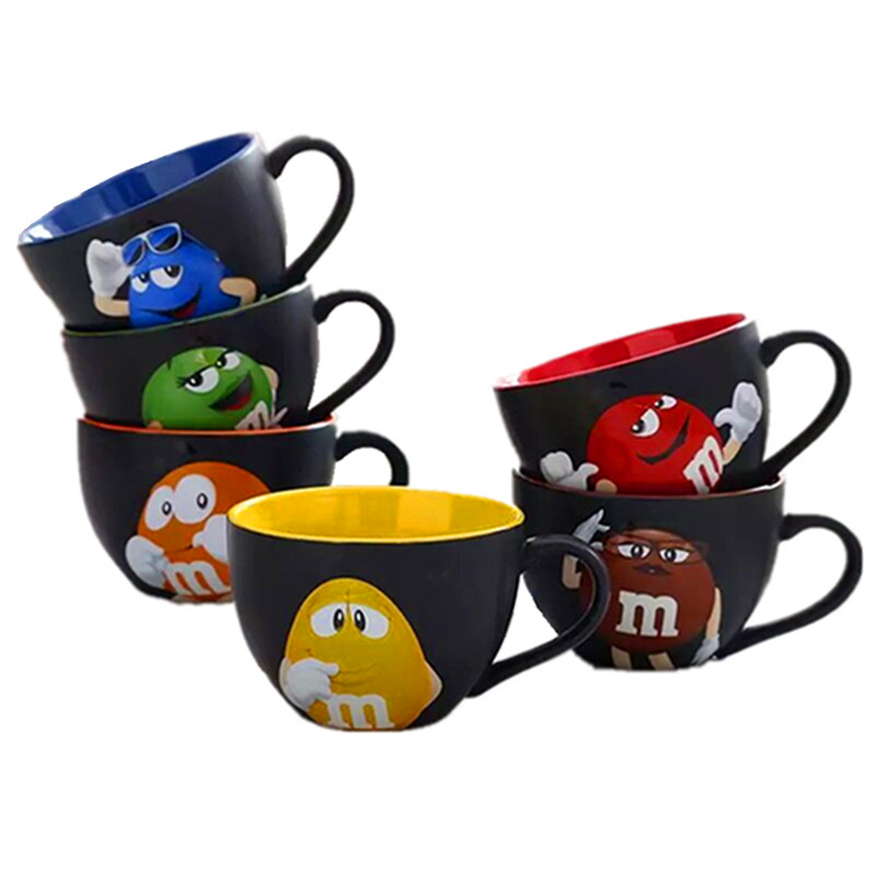 M&M coffee mugs breakfast tea cups and mugs with spoon cartoon bean expression ceramic mark drinkware taza de m&m