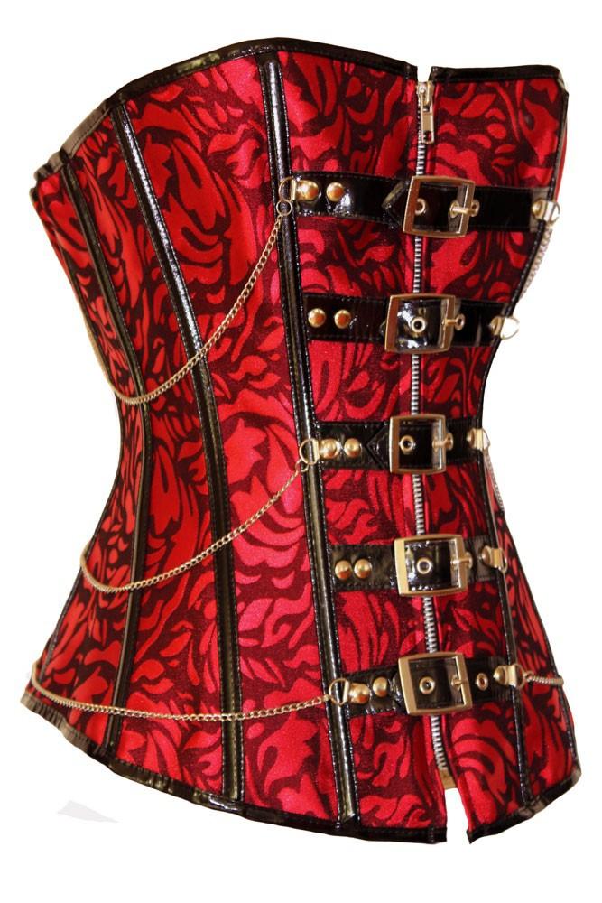 Festive-Red-Jacquard-Corset-LC5275-1