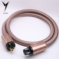 Finished Cable Accuphase YIVO OFC Pure Copper Plated Gold Aluminium alloy Shell 20mm Connector AC plug OD EU US power Cable Cord