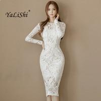 5760ca5367a24d 2017 Autumn Women Dress Office Sexy Long Sleeve Bandage Bodycon Dress White  Pencil Lace Dress Vintage. US  26.00 US  17.68. 2019 Lente Vrouwen Jurk ...
