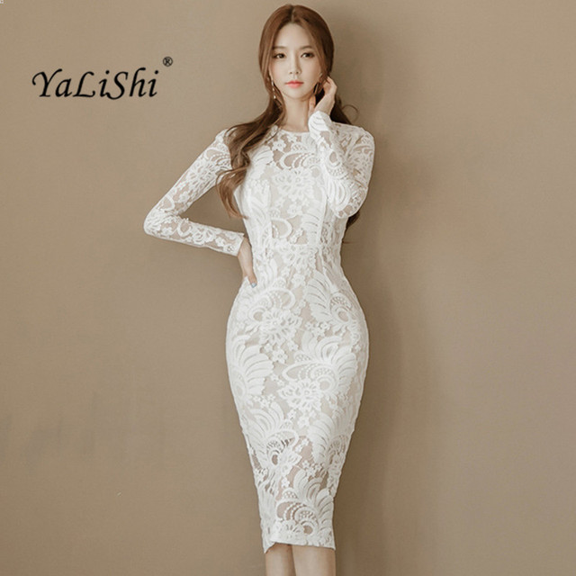 fc342f13556d 2019 primavera mujeres vestido Oficina Sexy manga larga vendaje Bodycon  vestido blanco lápiz encaje vestido Vintage Vestidos de fiesta Vestidos