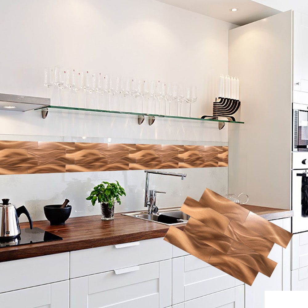 Wholesale 4 Sheets Peel and Stick Wall Stickers Copper Design Backsplash Nordic Style 30X40cm Art Floor Sticker Fast Shipping