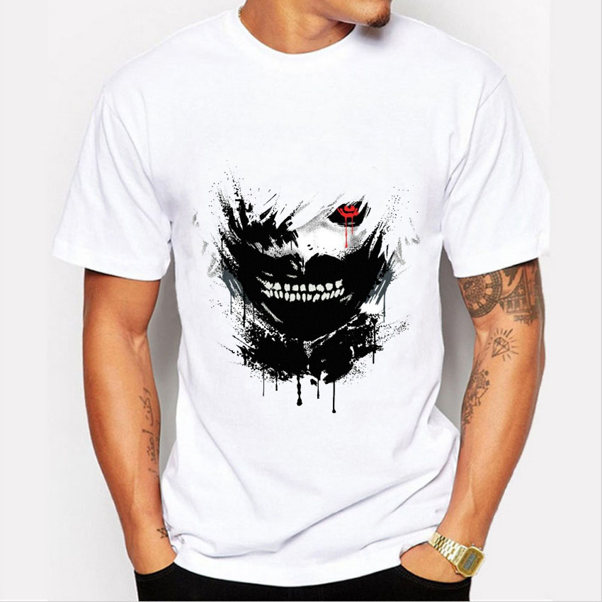 2016 fashion hot anime tokyo ghoul t shirt men summer ken kaneki print tee shirt hombre casual short sleeve tops mens clothing