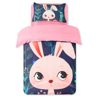 Pink Rabbit 3D Oil Princess Christmas Gift Bedding Sheet Set Twin Size 3pc,100% Polyester Pink Rabbit Bed Cover For Girl Bedding
