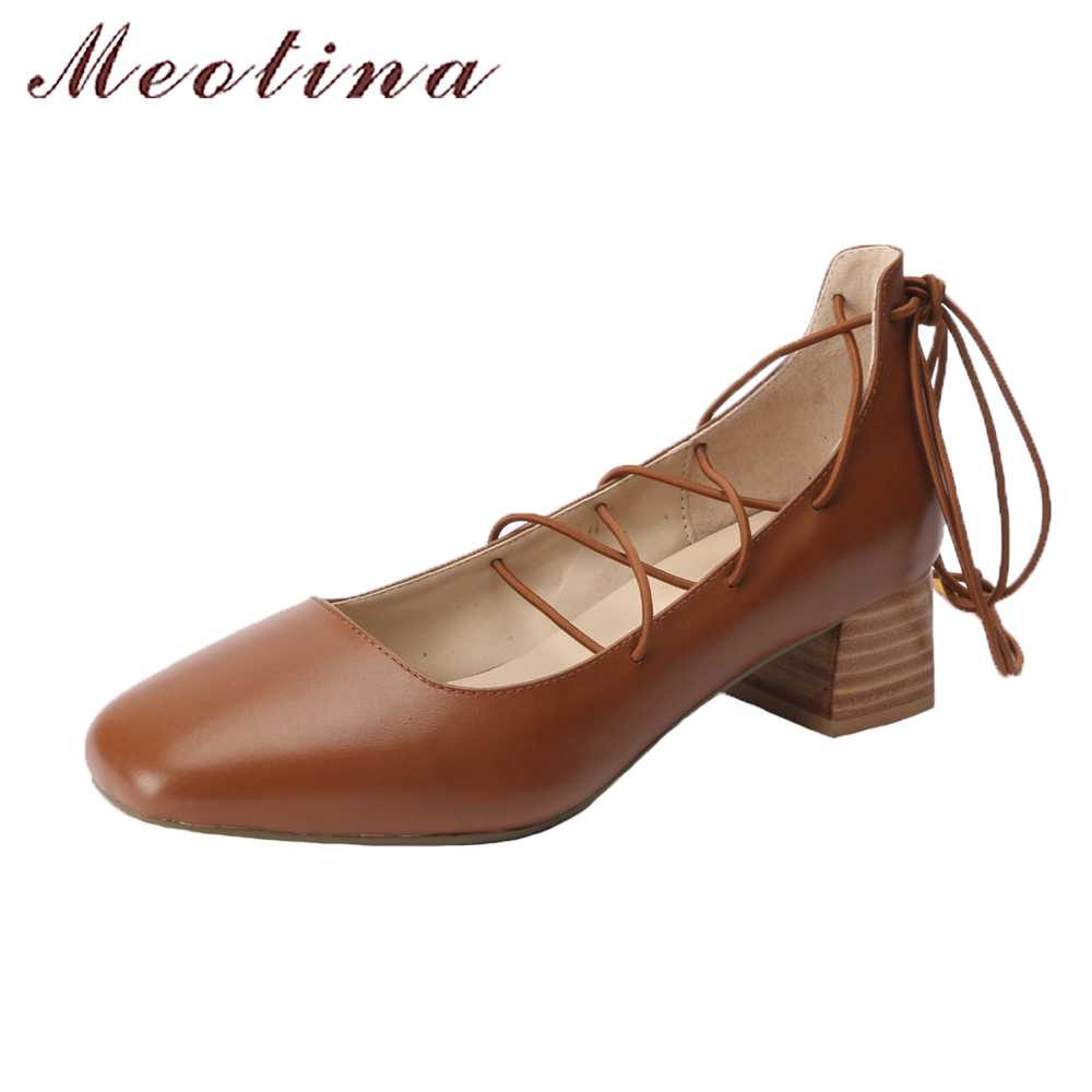 Meotina Natural Leather Shoes Ankle Strap Chunky Heels Cross-tied Shoes Pumps Square Toe Genuine Leather Gladiator Shoes Black meotina gladiator shoes 2018 women shoes
