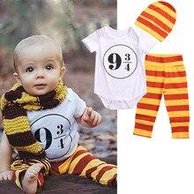 2017 Cute Baby Boy Clothes Harry Potter Romper+Pants+Hat 3pcs Infant Boys Sport suit Outfits Set(China (Mainland))