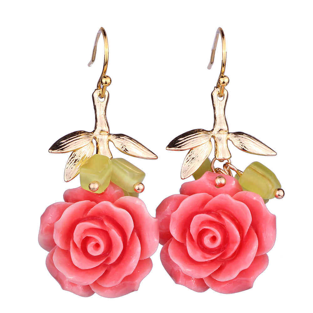 FARLENA JEWELRY Unique Design Pink Shell Powder Rose Drop Earrings with Natural stone Trendy Earrings for Women
