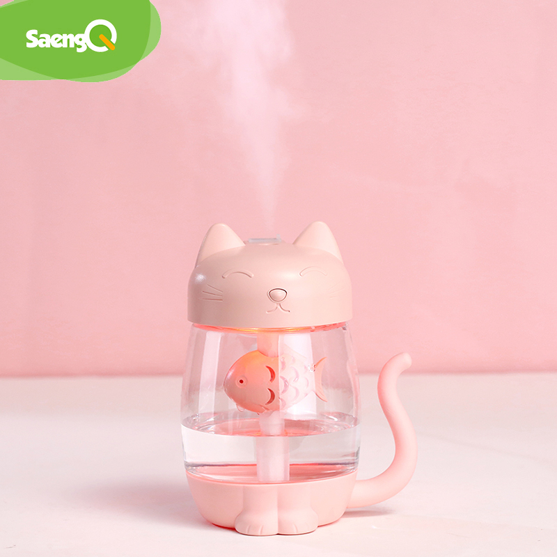 SaengQ 350ml Air Ultrasonic Humidifier For 7 Colour Lamp Home Essential Oil Diffuser Atomizer Air Freshener Mist Maker