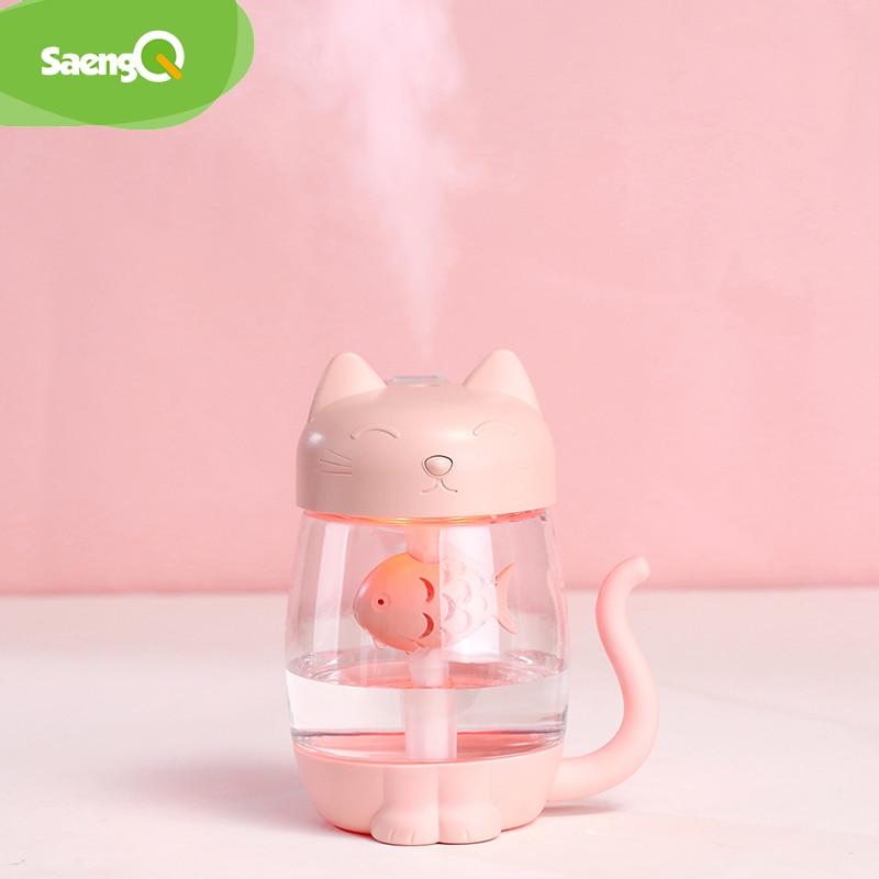 SaengQ 350ml Air Ultrasonic Humidifier For 7 Colour Lamp Home Essential Oil Diffuser Atomizer Air Freshener Mist Maker