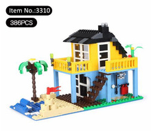 Wange blocks Architecture Creator Seaside Holiday House Building Blocks Brick Toy educational toys for kids3310