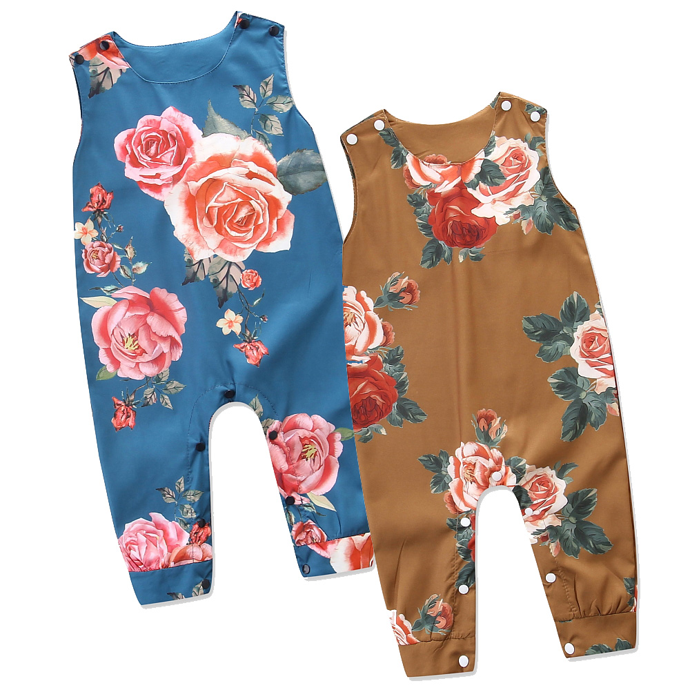 Newborn Infant Romper Baby Girl Clothes Sleeveless Floral Print Jumpsuit Toddler Girls Summer Clothing Kids Rompers Size 0-24M