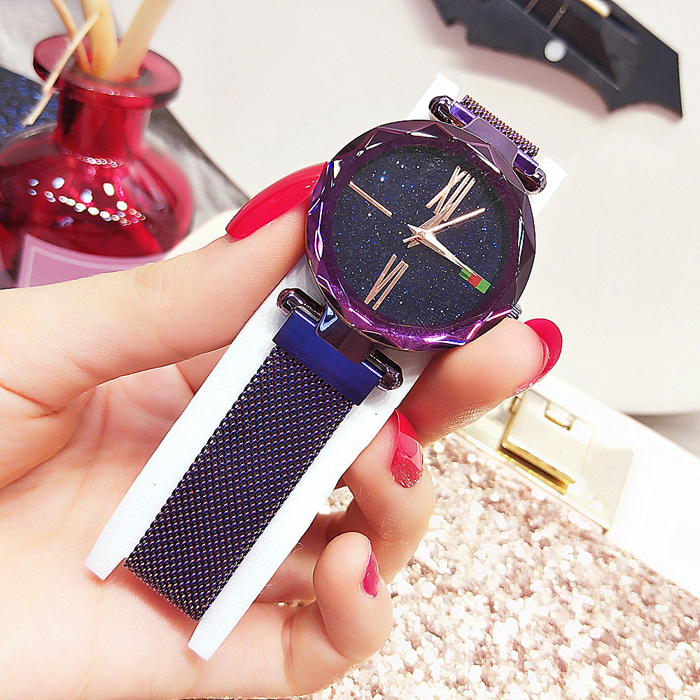 Moon Stars Design Women Wrist Watch Romantic Starry Sky Dial Japanese Watch Movement Starry Design Waterproof Plated Flat Round vansvar cute moon stars design analog wrist watch women unique romantic starry sky dial casual fashion quartz watches women gift