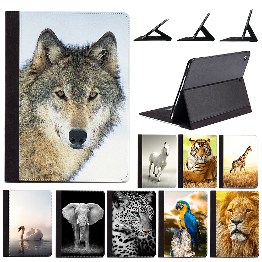 """For iPad Air 1 2 9.7"""" 5th 2017 6th 2018 Generation Wild Animal Pattern Elephant Lion Wolf Horse Cute PU Leather Case Stand Cover"""