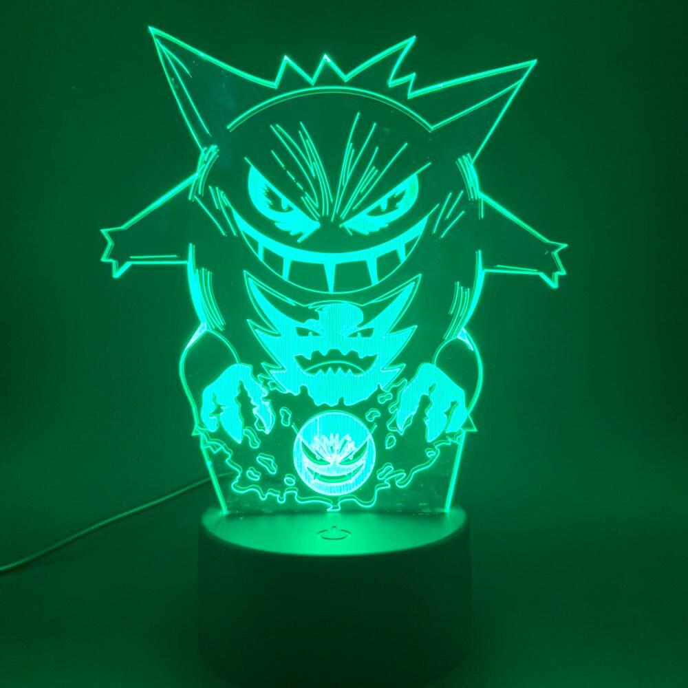 3d Led Night Light Game Pokemon GO Gengar Figure Best Gift For Kids Child Bedroom Decorative Atmosphere Nightlight Lamp 3d