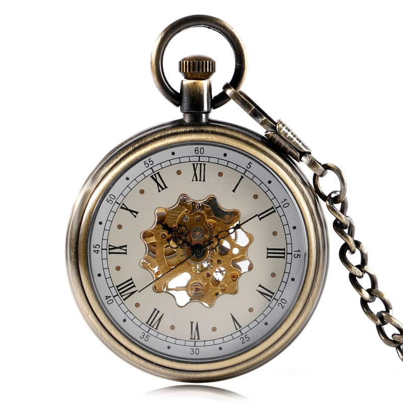 Luxury Bronze Open Face Roman Numbers Mechanical Hand Winding Pocket Watch Flower Skeleton Women Exquisite Pendant Nurse Chain