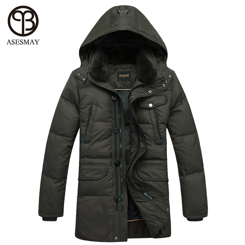 Asesmay 2016 Thick Warm Winter duck Down Jacket for Men Waterproof Fur Rabbit Collar Parkas Men Coat high quality Western style