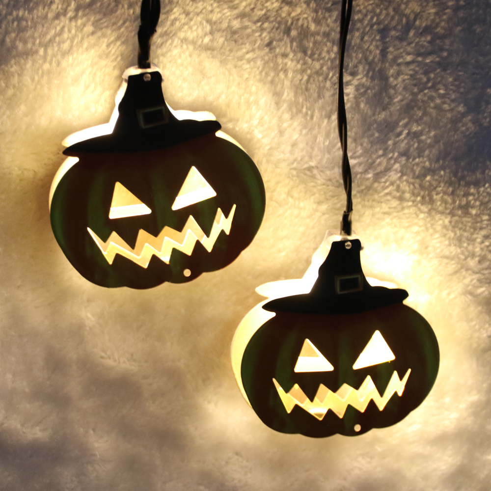 4M/6M Solar/Battery Powered Pumpkin Shadow 10/20 LED String Light Fairy Lights Halloween Easter Decor Dimmable Holiday Lamps