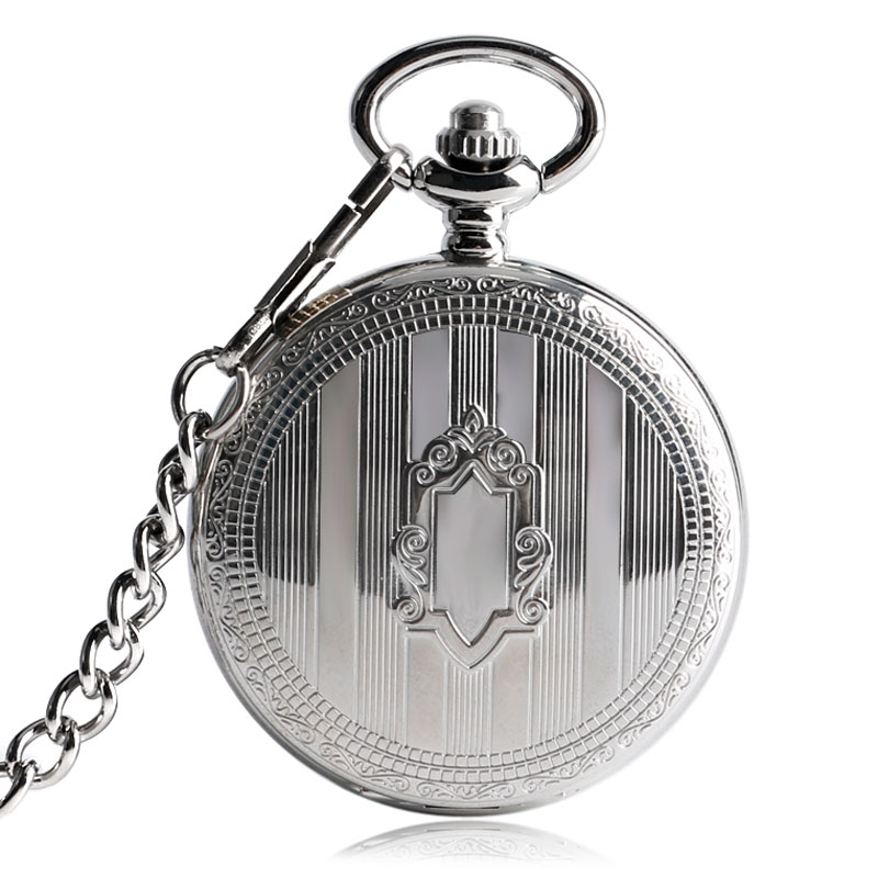 Classic Silver Shield Pattern Strip Automatic Self-wind Mechanical Pocket Fob Watch Skeleton Dial Luxury Clock With Chain Unisex