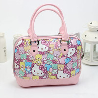 Free shipping Fashion hello kitty top handle bags High quality PU bags for women 2018Cute bear and cat