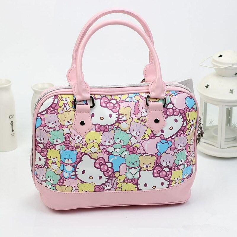 Free shipping Fashion hello kitty top-handle bags High-quality PU bags for  women 2018Cute bear and cat c0c73a5ccae5b