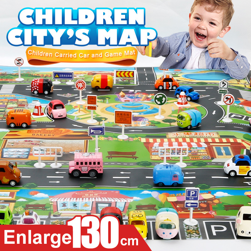 40Pcs City Map Car Toy Model Game Pad Children Interactive Play House Toy (28Pc Road Sign + 11Pc Car + 1Pc Map)