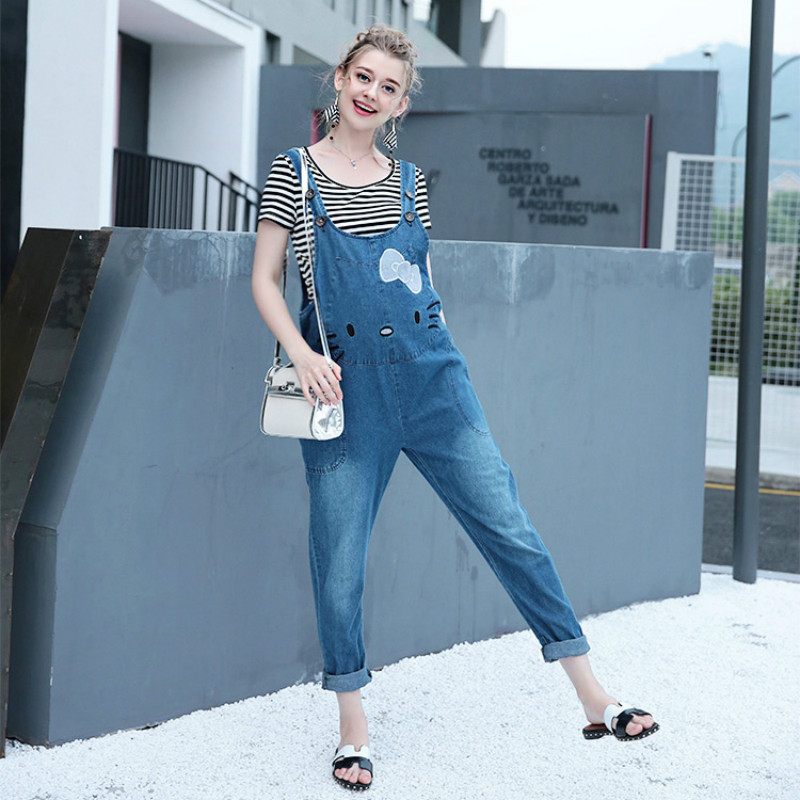 New Maternity Strap Jeans Loose Cowboy Pants Overalls Jumpsuits Pregnant women Fashion Lovely Trousers Pregnancy Wear E4 10 new jeans female large size loose nine pants pants stripes wide leg pants was thin jeans