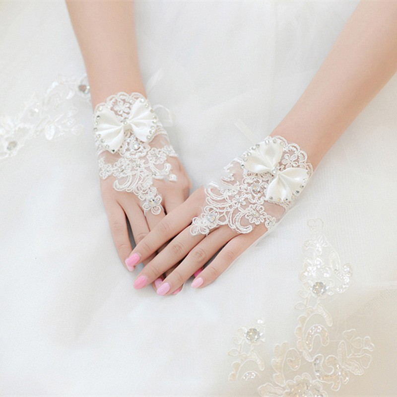 White or Ivory Fingerless Short Beaded Lace Crystal Wedding Gloves Bridal Bride