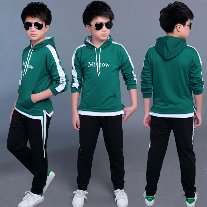 2019 New Baby Boys Clothing Set For Kids Casual Letter Hooded Velvet Autumn Spring Children's Sports Suits Clothes 4-12 Years