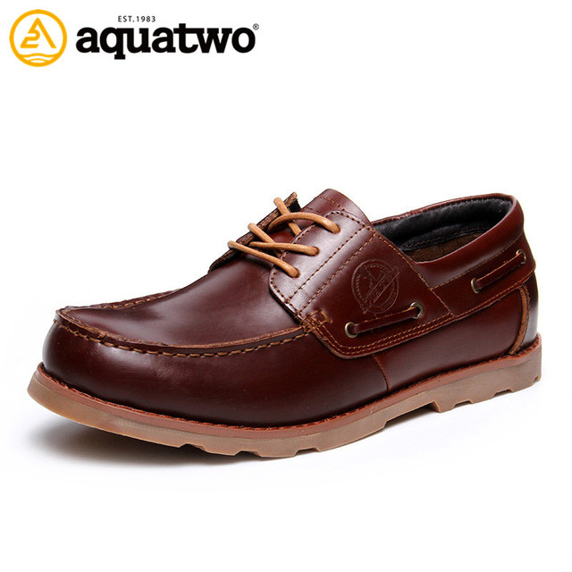 High Quality 2016 New AQUA TWO Boat Shoes For Men Genuine Leather Shoes Men Lace Up Sapato Masculino US6-10# Casual Shoes Band
