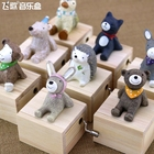 Home Decor Cute Mini Animal Wooden Hand Cranked Music Boxes Creative Unique Artware Gift Wooden Music Box