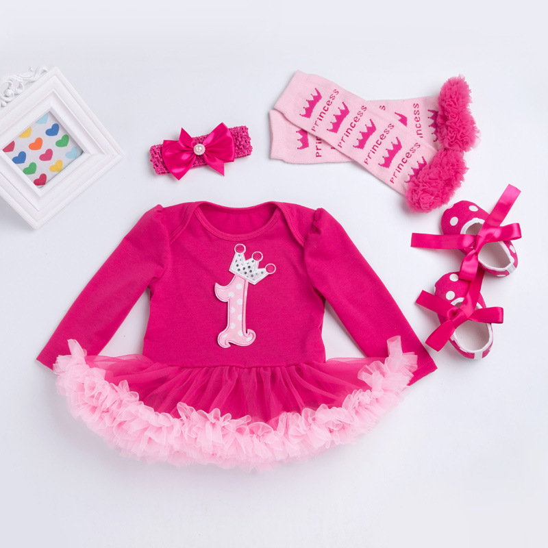 New Baby 1st Birthday Outfits Jumpsuit Bodysuit Tutu Party Dresses Vestidos Menina BEBE Girls Clothes Rose Red Ruffle Crown TUTU