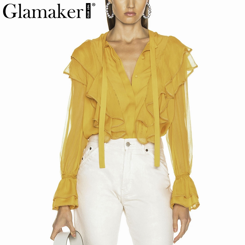 Glamaker Chiffon sexy elegant   blouse     shirt   Female summer ruffles v neck   blouse   Women long lantern sleeve causal ladies   blouses