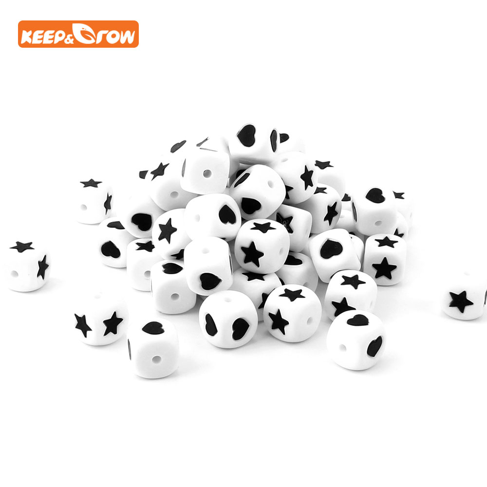 Keep&grow 10pc Silicone Beads 12mm Heart Star Chewing Beads Mordedor Baby Teether Bead For DIY Bracelet Necklace Pacifier Chain