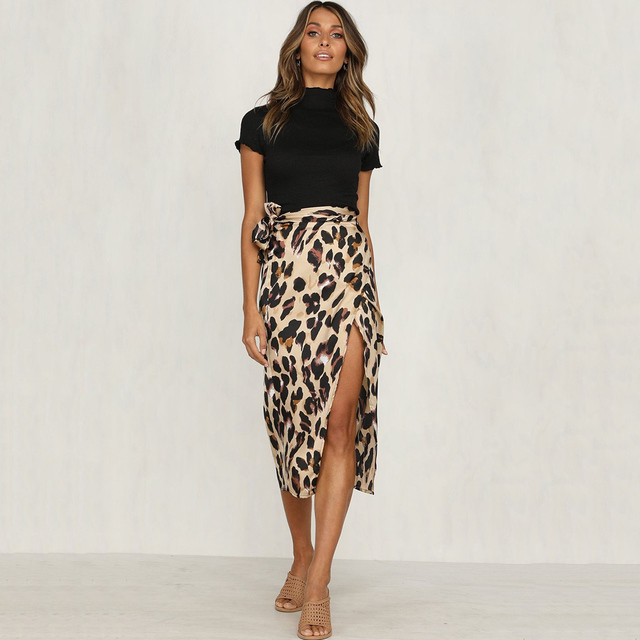 aa48948a2a35a Sexy Women Leopard Printed Long Skirt Autumn High Waist Skirts Ladies Split  Bandage Evening Party Club
