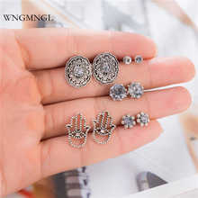 WNGMNGL New 5 Pairs/Set Vintage Stud Earrings Boho Palm Round Gem Hollow Antique Silver color For Women Fashion Jewelry