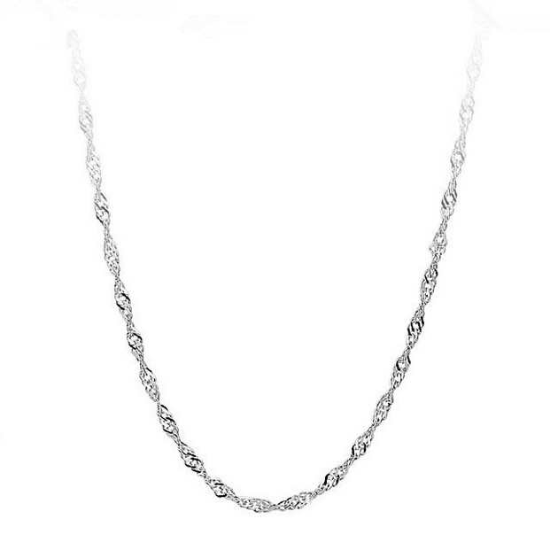 2017 Hot sell fashion classic high quality water wave chain 925 sterling silver water wave necklaces jewelry gift in Chain Necklaces from Jewelry Accessories