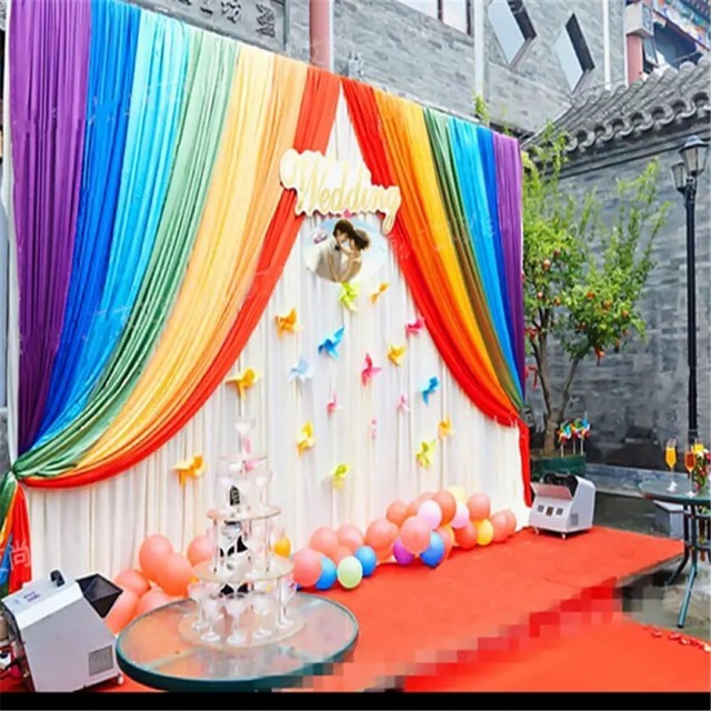 Ice silk wedding backdrop swag cloth baby kids shower backdrop ice silk wedding backdrop swag cloth baby kids shower backdrop curtain rainbow wedding string backdrop curtain junglespirit Gallery