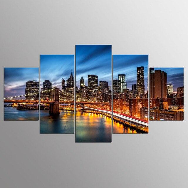 5 pezzi hd stampa immagine pittura citt di notte modulare for Stampe moderne per soggiorno