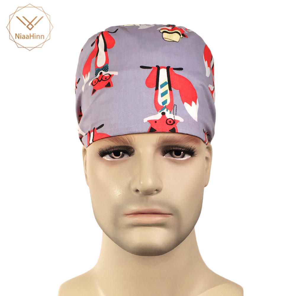 2019 Fashion Cute Cartoon Printing Cap Hospital Doctor Surgical Hat Long Adjustable Fresh Cap Nurse Scrub Cap Medical Fabric Cap Accessories