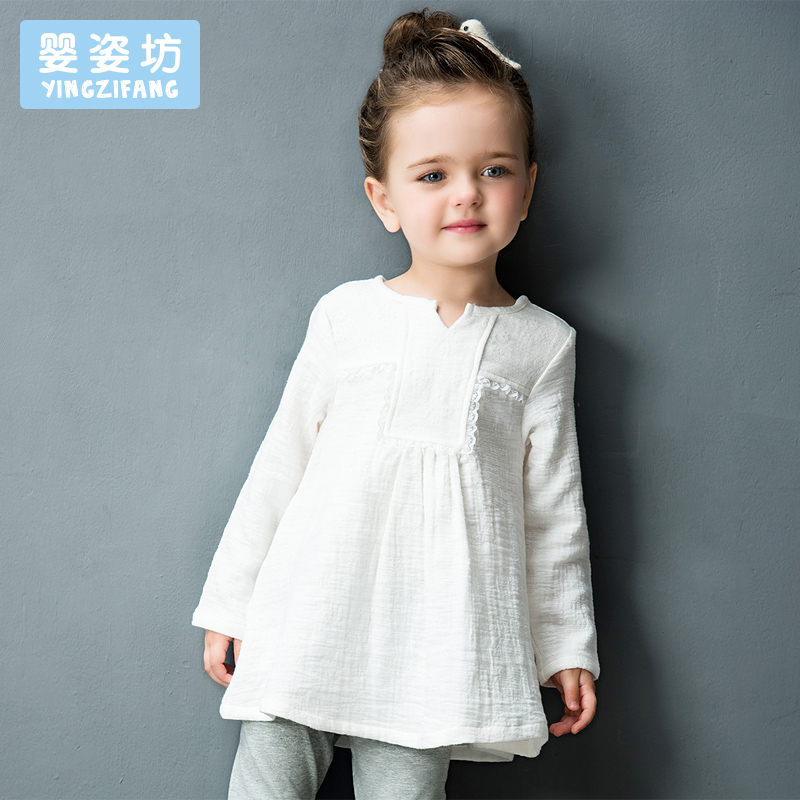 Yingzifang Limited Direct Selling Full Patchwork Girls' Casual Autumn Long Sleeve V-neck Girls Lace Linen Dresses T-shirt dark grey lace up design v neck t shirt