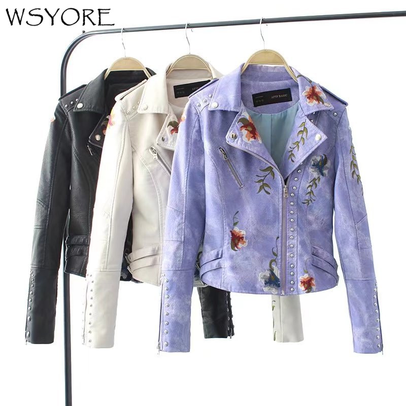 WSYORE Women Motorcycle Jacket 2019 New Spring Autumn Flower Embroidery Rivets Zipper PU   Leather   Short Jackets and Coats NS303
