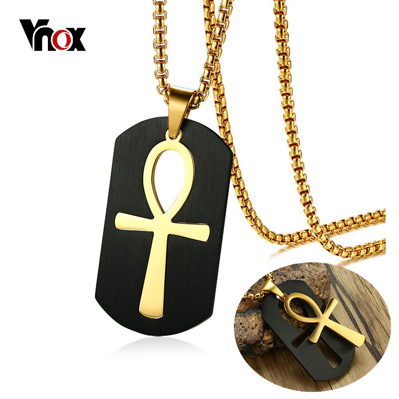 Vnox Removable Ankh Cross Necklace for Men Gold Tone Stainless Steel Cut Out Crux Ansata Key To Life Egypt Pendant Box Chain 24