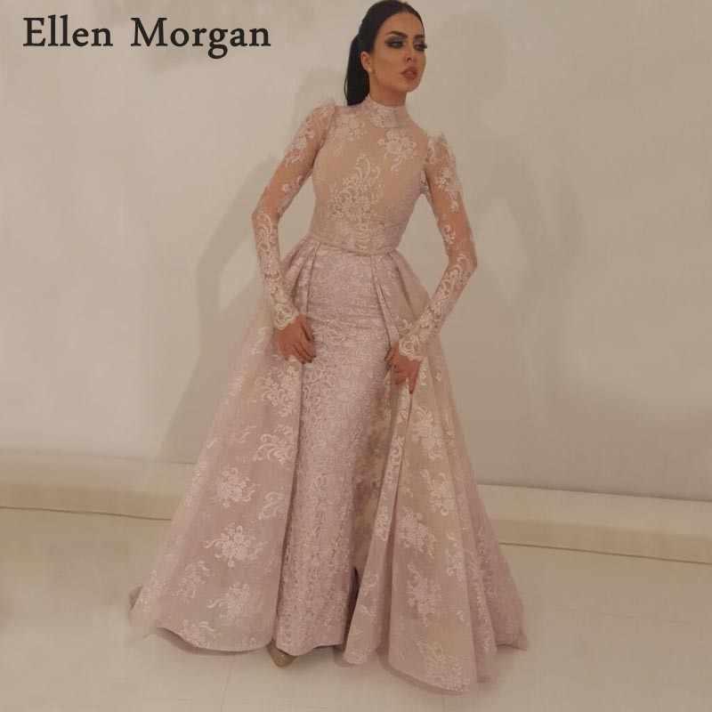 8766768a677e Saudi Arabian Muslim Mermaid Evening Dresses Party Detachable Skirt Zipper  High Neck Long Sleeves Lace Formal