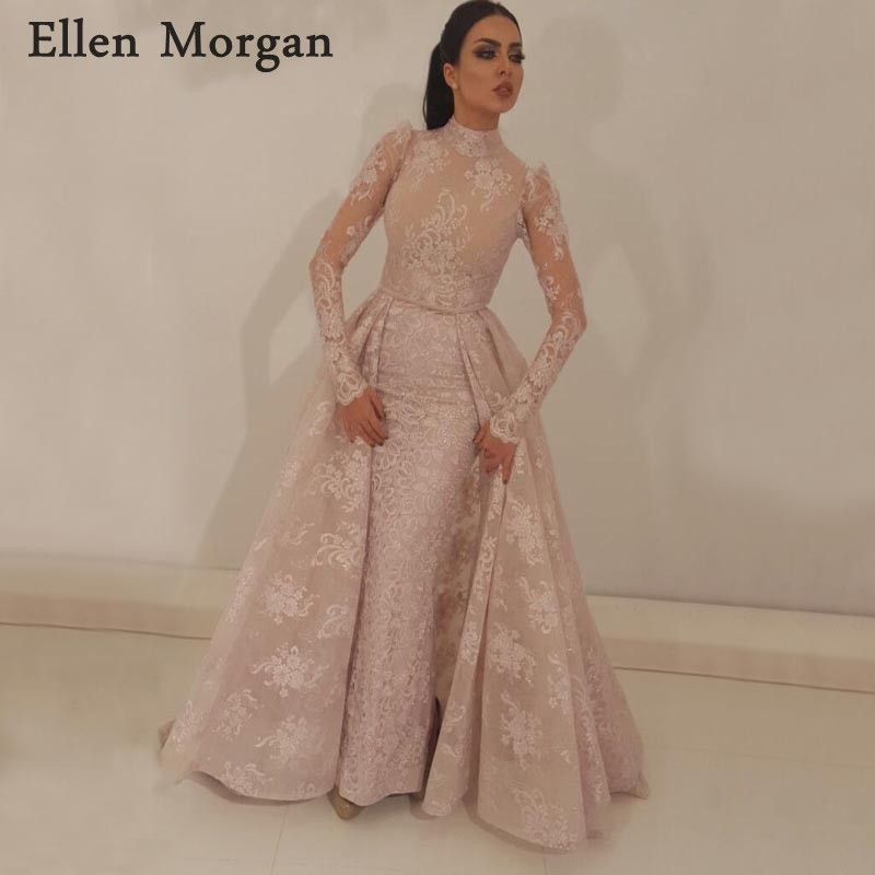Saudi Arabian Muslim Mermaid   Evening     Dresses   Party Detachable Skirt Zipper High Neck Long Sleeves Lace Formal Prom Gowns 2019