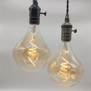 Image 2 - Retro Vintage suave flexible bombilla de filamento LED G125 Industrial regulable espiral lámpara de filamento LED 4W