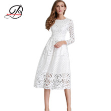 Borisovich New European 2017 Spring Women's Lace Hollow Out Long Dresses Femme Casual Clothing Women Sexy Slim Party Dress M33
