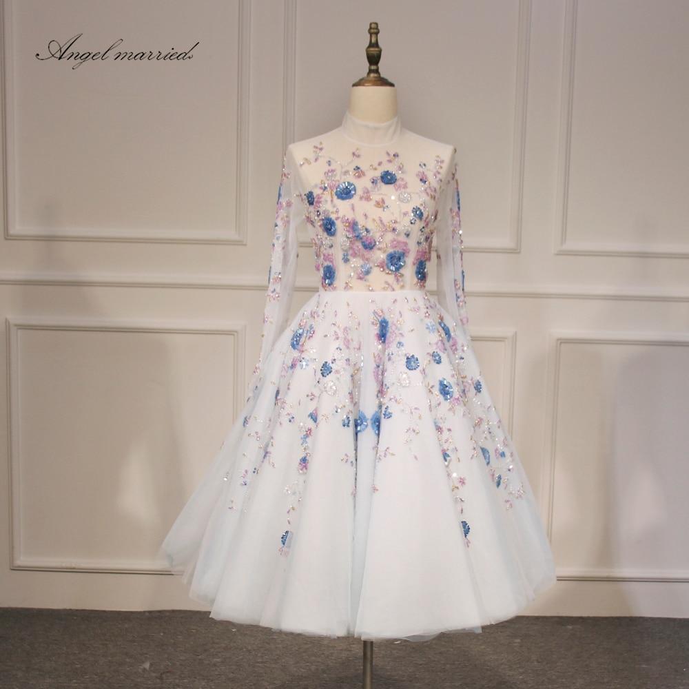 Ange marié Robes de Soirée de luxe robe de bal haute cou genou longueur formelle pary robe sexy pageant robe robe de festa