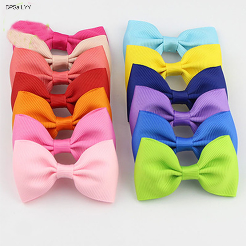 DPSaiLYY 2 PC Free Shipping Ribbon Bows Children Hairpins and Clips Gift Kids Girl 20 Colors Hair Barrettes Accessories Headwear 1pcs 4 7 inches boutique kids hairpins headwear big hair clips with ribbon bows for girls babies barrettes children accessories